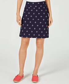 Charter Club Petite Embroidered-Anchor Skort, Created for Macy's