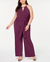 e418da020b1 STATE Plus Size Halter-Neck Faux-Wrap Jumpsuit