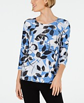 25f67740e63 JM Collection 3 4-Sleeve Novelty Printed Jacquard Top