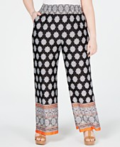 729ceaf6ab23 NY Collection Plus Size Border-Print Smocked Pull-On Pants