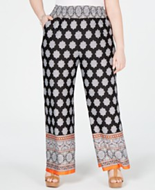 NY Collection Plus Size Border-Print Smocked Pull-On Pants