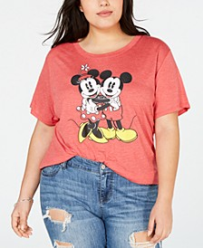 Trendy Plus Size Mickey & Minnie Graphic-Print T-Shirt
