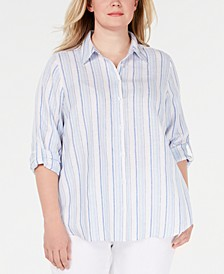 Plus Size Striped Linen Shirt, Created for Macy's