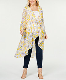 NY Collection Plus Size Tie-Front Duster Cardigan