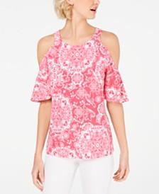 I.N.C. Cold-Shoulder Flutter-Sleeve Top, Created for Macy's