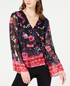 I.N.C. Printed Bell-Sleeve Wrap Top, Created for Macy's