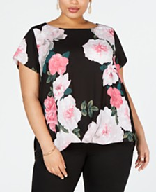 I.N.C. Plus Size Printed Twist-Front Top, Created for Macy's