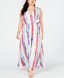 I.N.C. Plus Size Printed Surplice Maxi Dress, Created for Macy's
