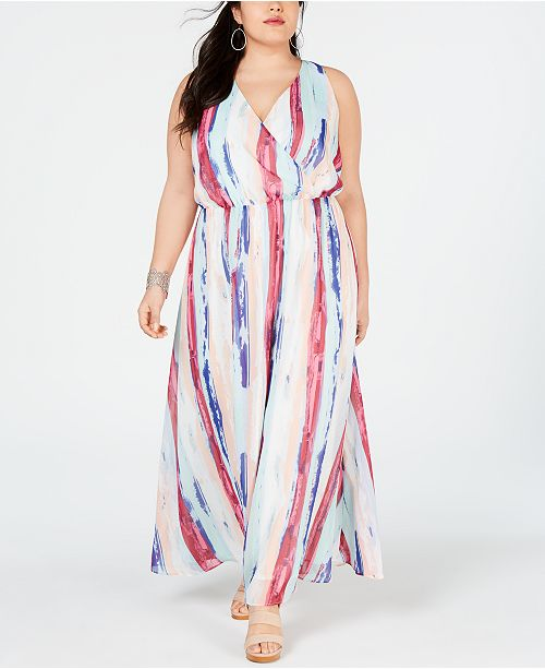 I.N.C. Plus Size Printed Surplice Maxi Dress, Created for Macy\'s