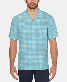 Cubavera Men's Windowpane Linen Camp Shirt