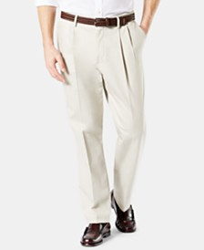 Dockers Men's Big & Tall Signature Lux Cotton Classic Fit Pleated Stretch Khaki Pants