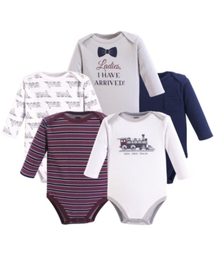 Baby Vision 0-24 Months Unisex Hudson Baby Baby Long Sleeve Bodysuits, 5-Pack
