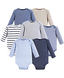 Baby Girls and Baby Boys Long Sleeve Bodysuits, 7-Pack