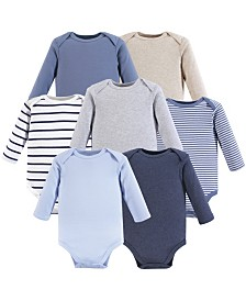 Hudson Baby Unisex Baby Long Sleeve Bodysuits, 7-Pack, 0-24 Months