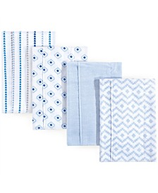 Unisex Baby Flannel Burp Cloths, 4-Pack, One Size