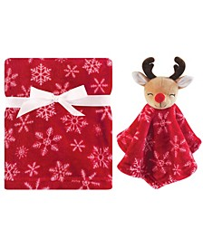 Unisex Baby Plush Blanket and Security Blanket, 2-Piece Set, Reindeer, One Size