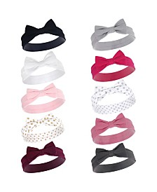 Hudson Baby Girl Cotton Headbands, 10 Pack, One Size