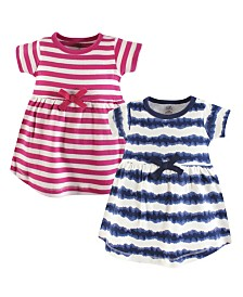 Touched by Nature Baby Girl Organic Cotton Dress, Short Sleeve 2-Pack, 0 Months - 5T