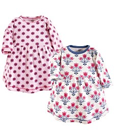 Touched by Nature Baby Girl Organic Cotton Dress, Long Sleeve 2-Pack, 0 Months - 5T