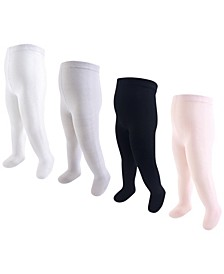 Baby Vision Baby and Toddler Girl Baby Organic Cotton Tights, 4-Pack