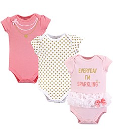 Baby Girls Cotton Bodysuits, Short-Sleeve 3-Pack
