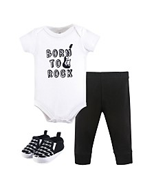 Little Treasure Unisex Baby Bodysuit, Pant and Shoes, 3-Piece Set, 0-18 Months