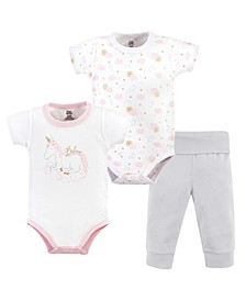 Baby Girls and Baby Boys Bodysuit and Pant, 3-Piece Set