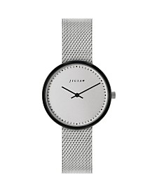Jigsaw Ladies Watch, Round Black Ip Case, Silver Tone Dial, Stainless Steel Mesh Bracelet