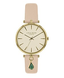 """Lola Rose """"Good Fortune"""", Ladies, Nude Leather Strap with Genuine Malachite Stone Hanging Charm, 34MM"""