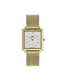 Heritage Square Gold Stainless Steel Case White Dial and Gold Mesh Bracelet