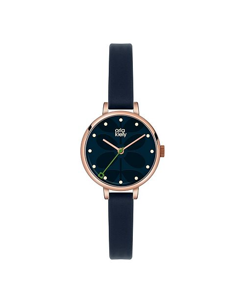 Lola Rose Orla Kiely Watch, Navy Blue Leather Strap With Buckle Closure
