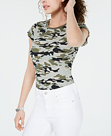 Crave Fame Juniors' Printed Lettuce-Edge Top