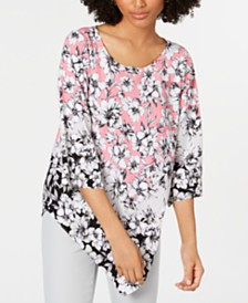 Alfani Petite 3/4-Sleeve Printed V Bottom Top, Created for Macy's