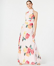 Printed Tie-Back Gown