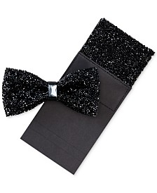 Tallia Men's Bling Bow Tie & Pocket Square