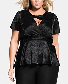 City Chic Trendy Plus Size Faux-Wrap Peplum Top