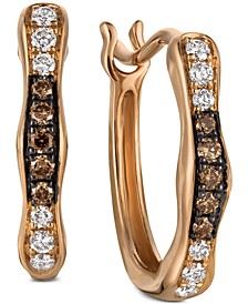 Chocolatier® Diamond Wavy Hoop Earrings (1/6 ct. t.w.) in 14k Rose Gold
