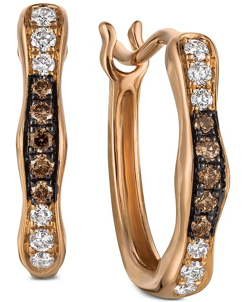 Le Vian Chocolatier® Diamond Wavy Hoop Earrings (1/6 ct. t.w.) in 14k Rose Gold