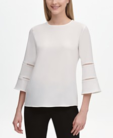 Calvin Klein Lace-Trim Bell-Sleeve Top