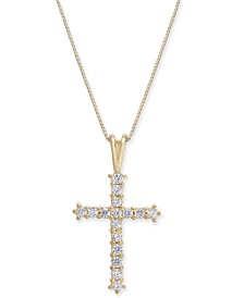 "Diamond Cross 18"" Pendant Necklace (1/2 ct. t.w.) in 14k Gold"