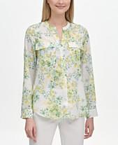 e9183959a48 Calvin Klein Floral-Print Band-Collar Shirt