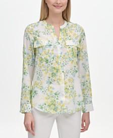 Calvin Klein Floral-Print Band-Collar Shirt