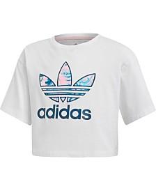 adidas Originals Big Girls Marble Trefoil Cropped Cotton T-Shirt