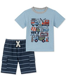 Kids Headquarters Baby Boys 2-Pc. Graphic-Print T-Shirt & Striped Shorts Set