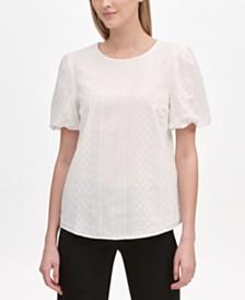 Calvin Klein Eyelet Puff-Sleeve Blouse