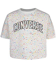 Converse Big Girls Cotton Splatter-Print Logo T-Shirt