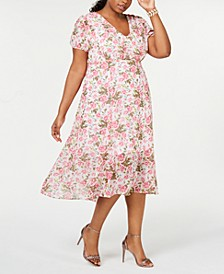 Plus Size Floral-Print A-Line Midi Dress