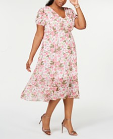Betsey Johnson Plus Size Floral-Print A-Line Midi Dress