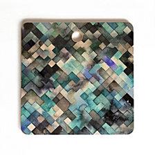 Deny Designs Ninola Design Moody Geometry Blue Sea Square Cutting Board