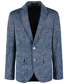 Big Boys Denim Blue Palm-Print Sport Coat